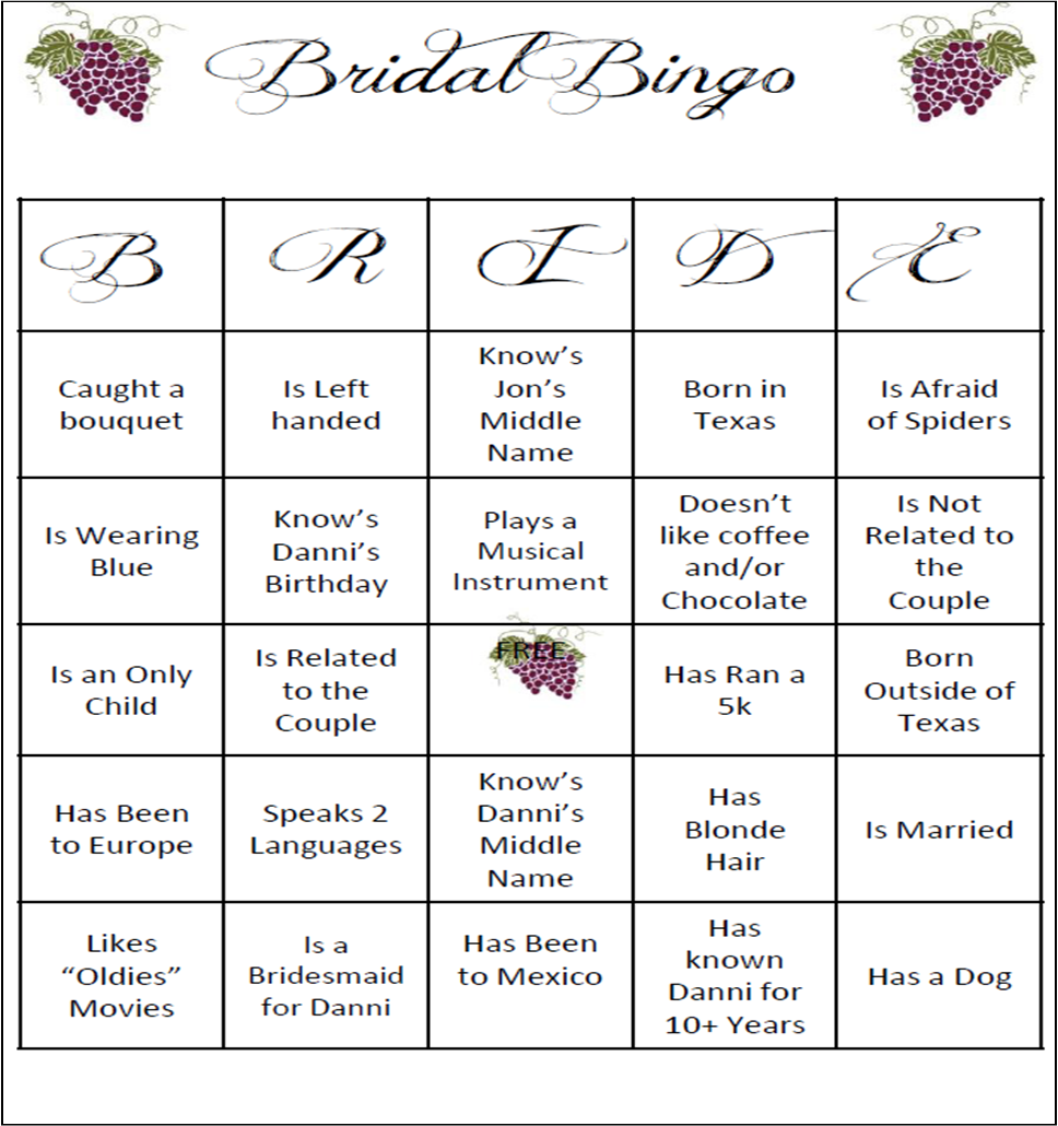 photo relating to Free Printable Bridal Shower Bingo identify Bridal Bingo Template cyberuse
