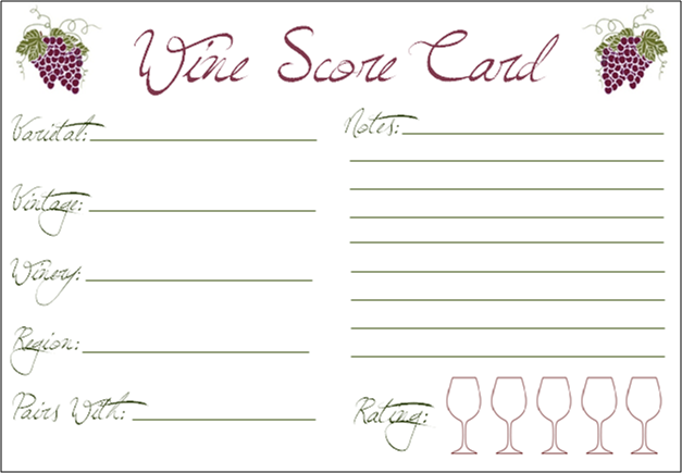 Printable Wine Tasting Cards Craftbnb