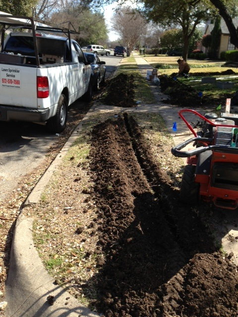 Trenching the Front Yard.