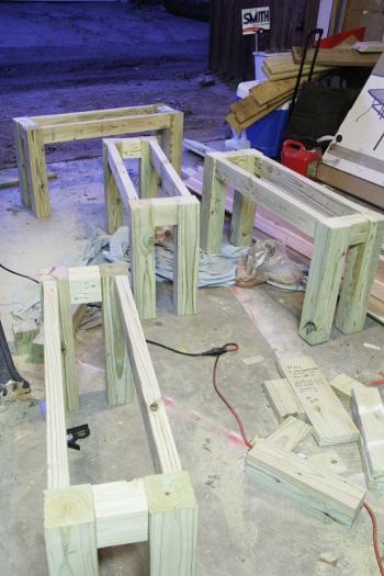 DIY outdoor benches and  cedar table