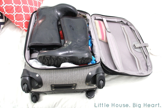 Suitcase Packed with Wellies
